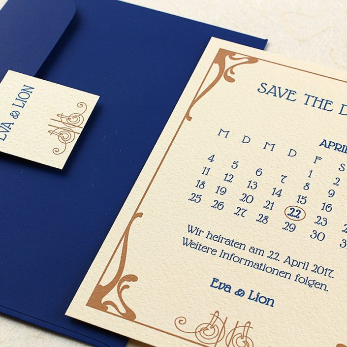Save the Date Karte als Kalender in Jugendstil Look